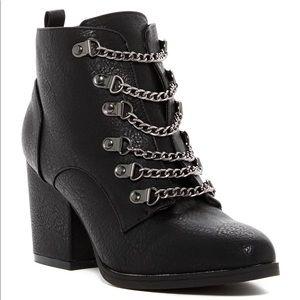 Black Chain Lace Detail Boots